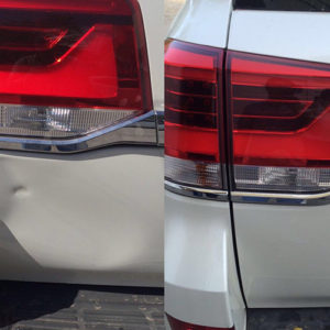 Before and after of light gray blue car dent repaired using paintless dent removal