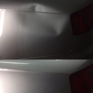 Before and after of dark gray car dent repaired using paintless dent removal
