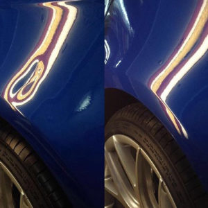 Before and after of royal blue car dent repaired using paintless dent removal