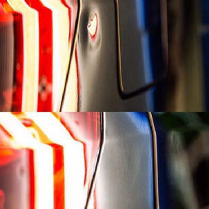 Before and after of car dent repaired using paintless dent removal