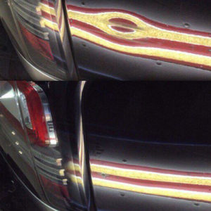 Before and after of dark blue car dent repaired using paintless dent removal